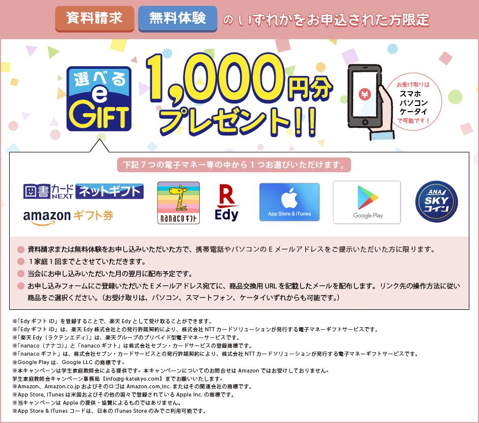 お申し込みの方には1,000円プレゼント