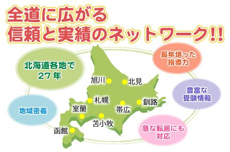 北海道で27年の実績に自信あり 全道に広がる安心の全国ネットワーク 地域密着 長年培った指導力 豊富な受験情報
