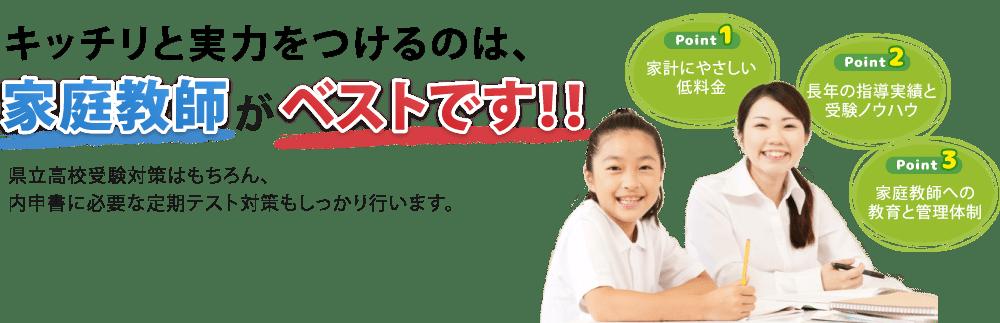 県立高校受験対策はもちろん内申書に必要な定期テスト対策もしっかり行います。きっちり実力をつけるのは家庭教師がベストです。
