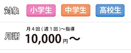 対象:小学生・中学生・高校生 月謝:月4回(週1回)~指導 10,000円(税別)から