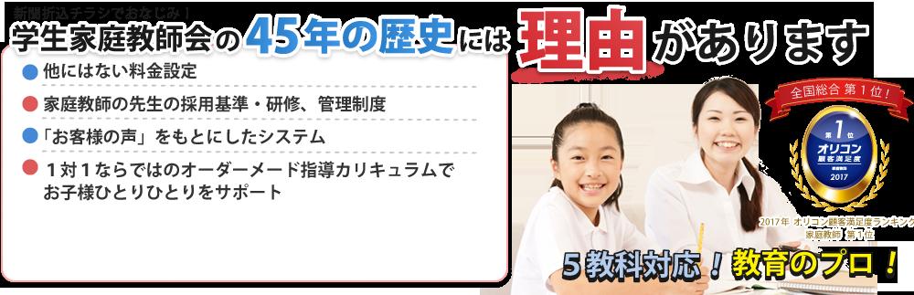 学生家庭教師会の45年の歴史には理由があります。他にはない料金設定、家庭教師の採用基準・研修 管理制度、「お客様の声」を元にしたシステム、1対1ならではのオーダーメイド指導カリキュラムでお子様ひとりひとりをサポート。2017年オリコン日本顧客満足度ランキング家庭教師全国第1位を受賞。5教科対応。教育のプロ。