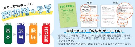 【1:基本】【2:応用】【3:発展】三段階の学習で、自然に実力が身につく!小学校低学年から高校生までの学校で使われている教科書を分析し家庭学習用に編集した、様々なレベルの問題集をご用意しております。